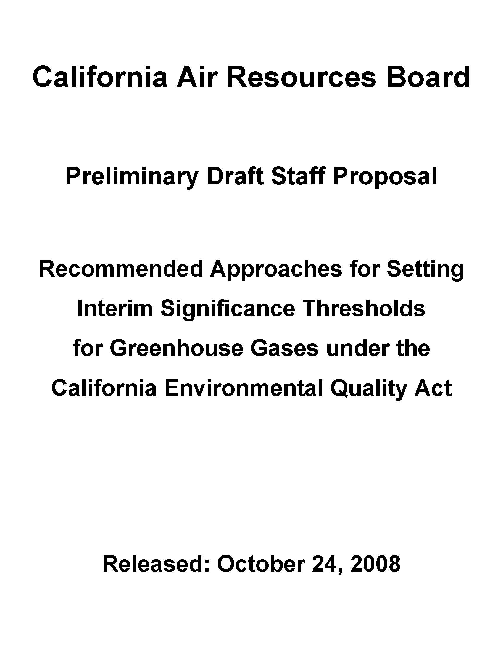 CARB Preliminary Draft Staff Proposal